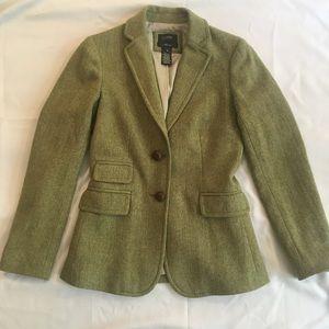 J. Crew Hacking Tweed Blazer Green Herringbone